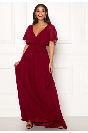 Goddiva Dame Maxikjoler - Flutter Chiffon Dress Berry S (UK10)