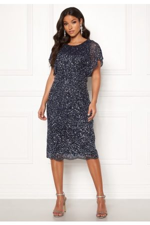 Angeleye Scallop Sequin Midi Dress Navy S (UK10)