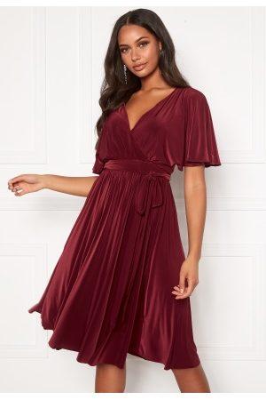 Goddiva Flutter Sleeve Midi Dress Berry L (UK14)