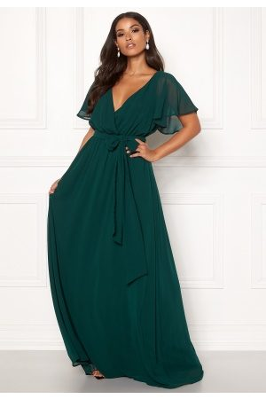 Goddiva Flutter Chiffon Dress Dark green S (UK10)