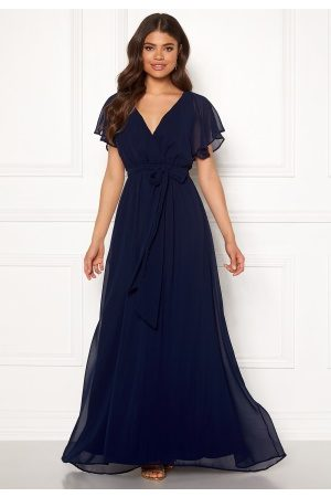 Goddiva Flutter Chiffon Dress Navy S (UK10)