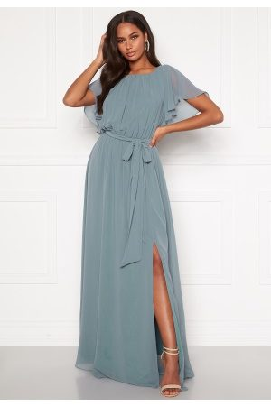 Goddiva Flutter Chiffon Dress Air Force Blue M (UK12)