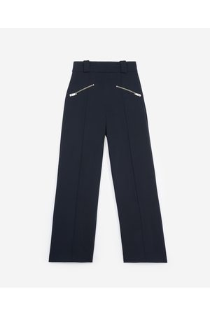The Kooples Zipped flared blue trousers navy