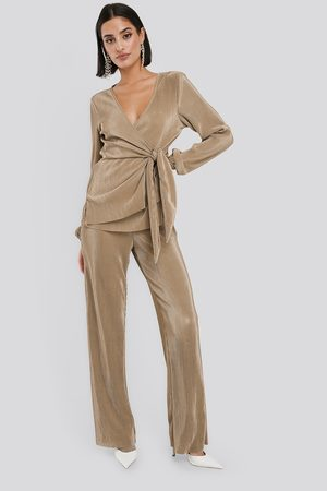 NA-KD Dame Slengbukser - Wide Pleated Trousers