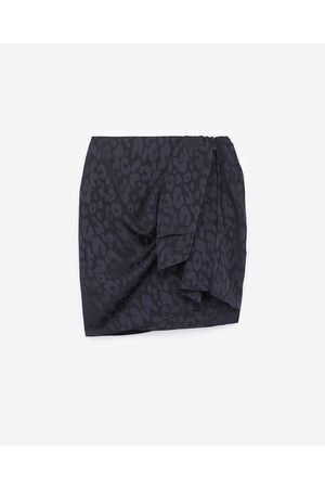 The Kooples Straight short wrap skirt with leopard print