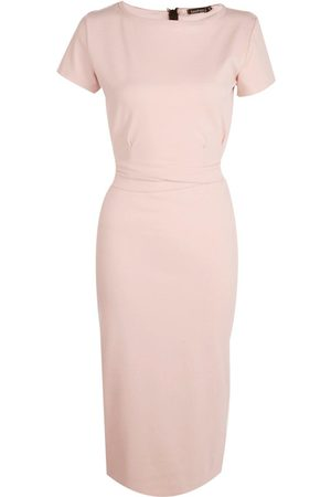 Boohoo Dame Bodycon kjoler - Pleat Front Belted Tailored Midi Dress