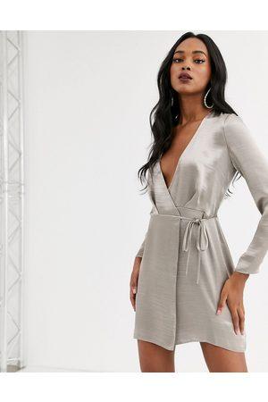 ASOS Wrap mini dress in high shine satin-Grey