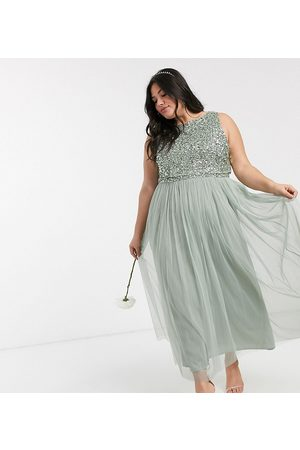 Maya Dame Festkjoler - Bridesmaid sleeveless midaxi tulle dress with tonal delicate sequin overlay in sage green