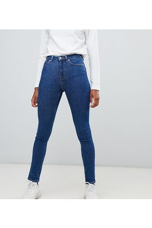 Weekday Thursday organic cotton high waist skinny jeans in win blue