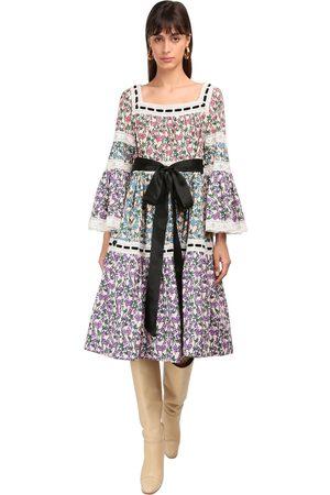 Marc Jacobs Flared Cotton Poplin & Lace Midi Dress