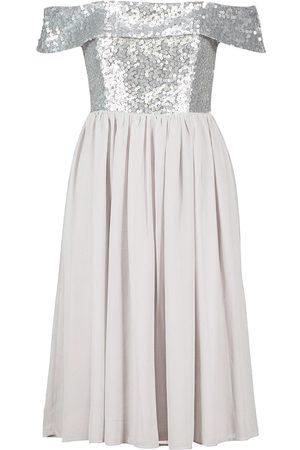Boohoo Occasion Sequin Bardot Midi Dress
