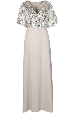 Boohoo Occasion Sequin Bodice Angel Sleeve Maxi Dress