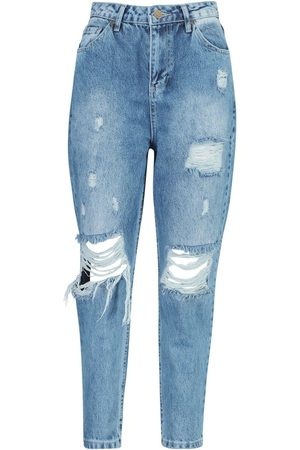 Boohoo Petite Distressed High Waisted Mom Jean