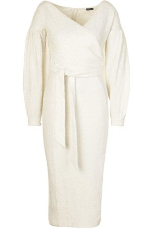 Boohoo Occasion Sequin Off The Shoulder Midi Dress