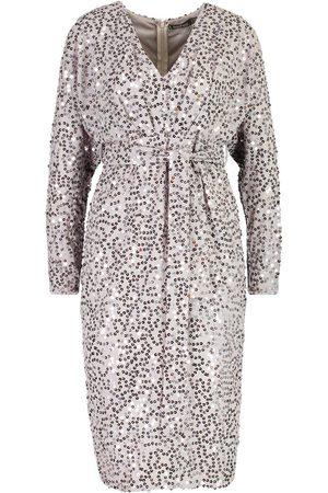 Boohoo Occasion Sequin Plunge Tie Waist Midi Dress