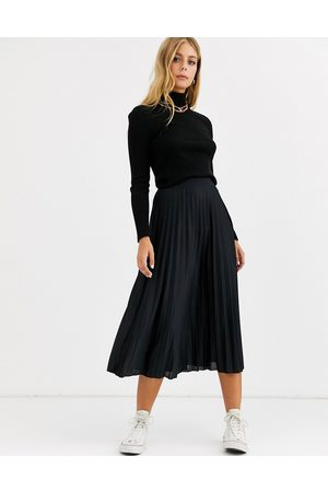 ASOS Pleated midi skirt in black