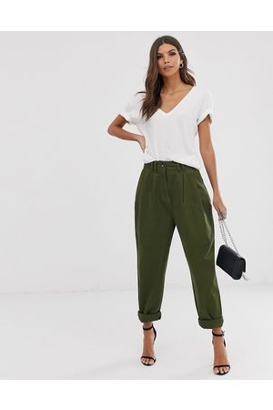 ASOS Ovoid pleat front peg trouser in khaki-Green