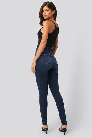 NA-KD Dame High waist - Skinny High Waist Open Hem Jeans Tall