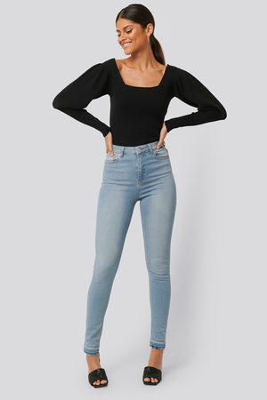 NA-KD Skinny High Waist Open Hem Jeans Tall