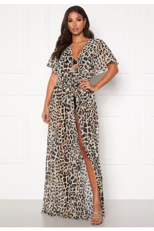 Goddiva Chiffon Maxi Kaftan Animal Print S (UK10)