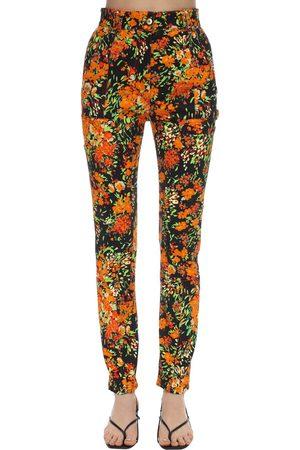 Atlein Floral Print Stretch Twill Skinny Pants
