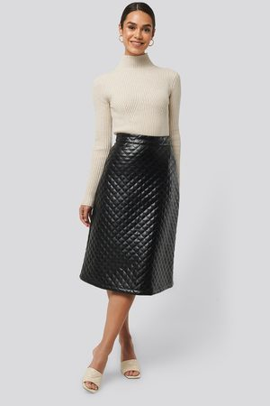 NA-KD Quilted PU Midi Skirt