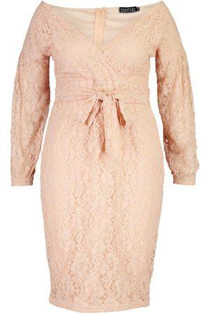 Boohoo Plus Lace Off The Shoulder Midi Dress