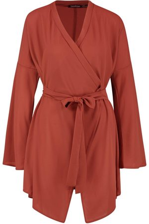 Boohoo Dame Omslagskjoler - Wide Sleeve Woven Wrap Dress