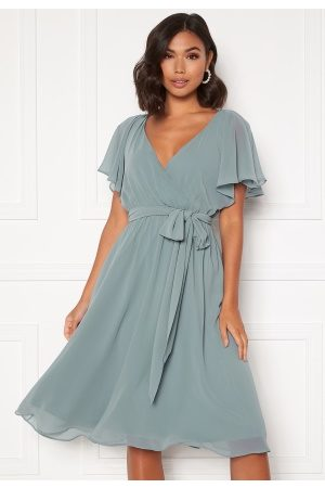 Goddiva Flutter Chiffon Dress Air Force Blue L (UK14)
