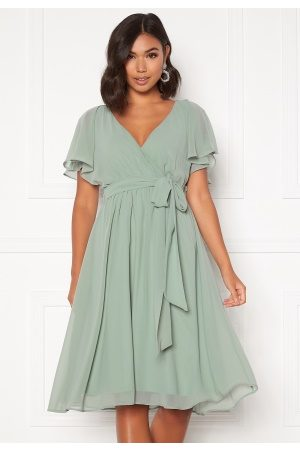 Goddiva Flutter Chiffon Dress Sage Green S (UK10)