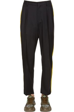 VALENTINO 21.5cm Wool Blend Pants W/ Side Bands