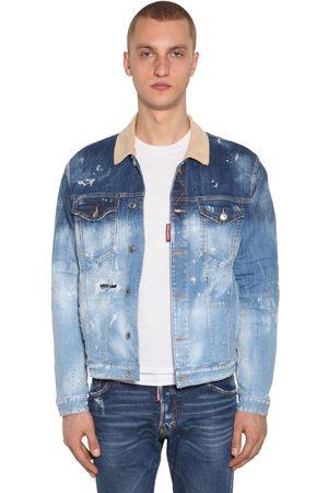 Dsquared2 Cotton Denim Jacket W/ Check Lining