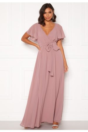 Goddiva Flutter Chiffon Dress Lavender S (UK10)