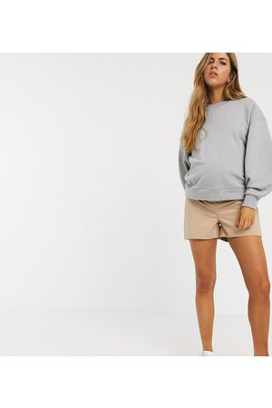 ASOS ASOS DESIGN Maternity chino short with under the bump waistband in stone