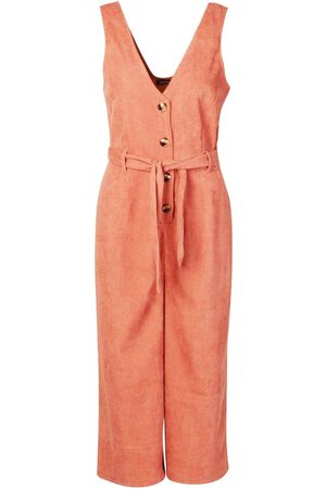 Boohoo Dame Bukser - Cord Button Front Culotte Pinafore Jumpsuit