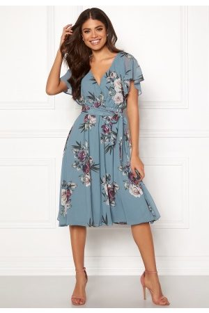 Goddiva Dame Midikjoler - Flutter Floral Midi Dress Air force Blue S (UK10)