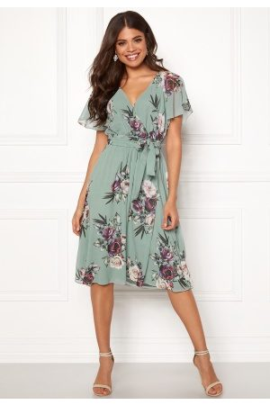 Goddiva Flutter Floral Midi Dress Duck Egg S (UK10)