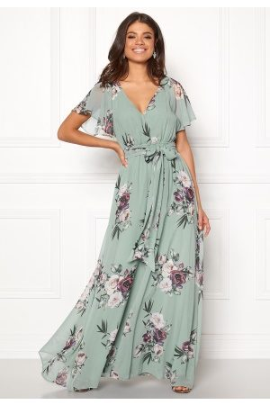 Goddiva Flutter Floral Maxi Dress Duck Egg XS (UK8)