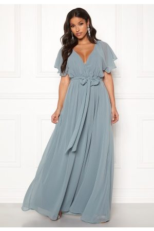 Goddiva Flutter Chiffon Dress Air force Blue S (UK10)