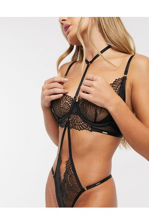 BlueBella Selmar fan lace longline unpadded bra in black