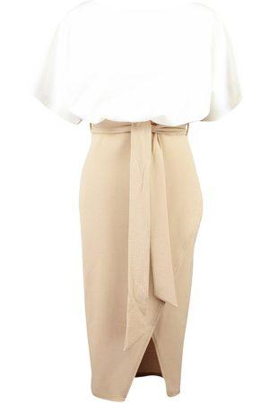 Boohoo Colour Block Kimono Sleeve Midi Dress