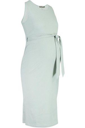 Boohoo Maternity Ribbed Tie Midi Dress