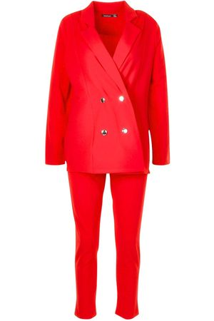 Boohoo Double Breasted Blazer And Trouser Suit Set
