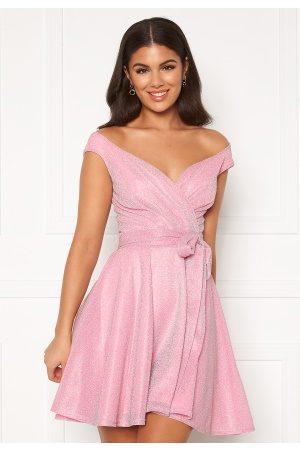 Goddiva Lurex Skater Dress Pink XL (UK16)