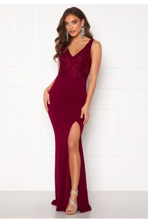 BUBBLEROOM Florence lace top prom dress Wine-red 34