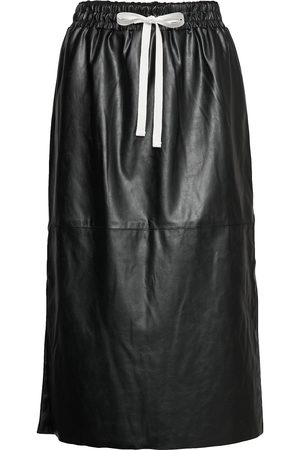 Designers Remix Dame Skinnskjørt - Leather Free Leather Skirt With Elasticated Waist Knelangt Skjørt