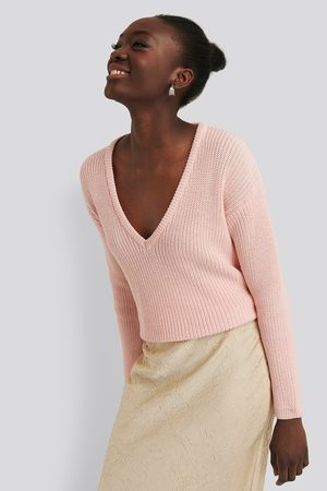 NA-KD Dame Gensere - Deep Front V-neck Knitted Sweater