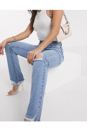 Missguided Dame High waist - Straight leg jean with rips in blue