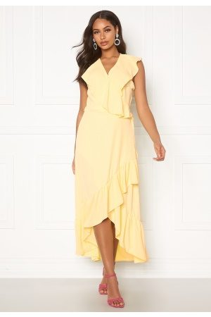 John Zack Ruffle Wrap Midaxi Dress Lemon S (UK10)