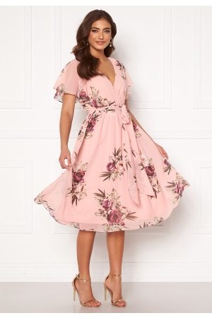Goddiva Dame Midikjoler - Flutter Floral Midi Dress Peach S (UK10)